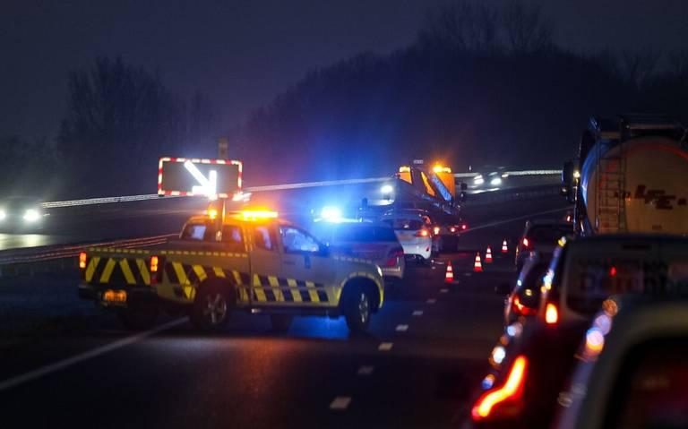 File op de A7 richting Heerenveen door ongeluk.