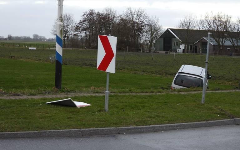 Eenzijdig ongeval op de Gernierswei in Menaam.