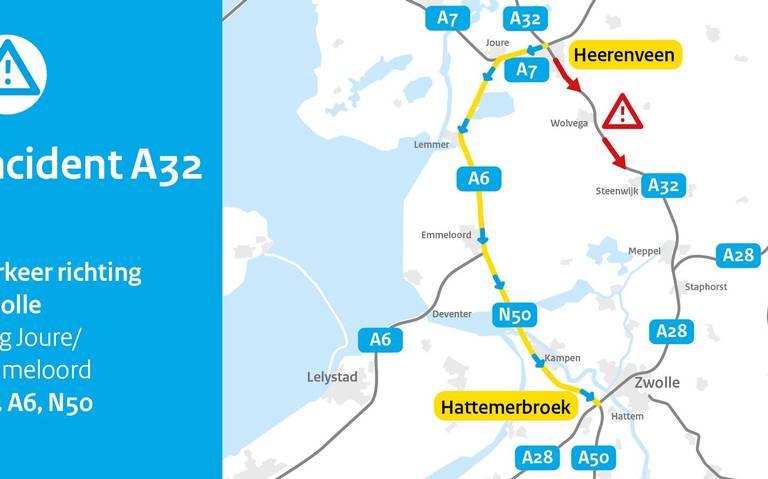 A32 in richting Heerenveen-Zwolle gestremd door ongeval.